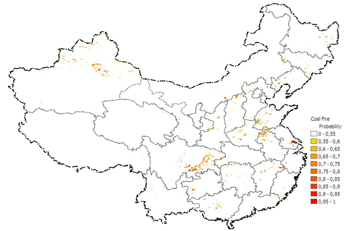 Map of coal fire probability of China
